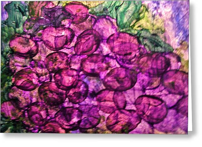 Bunch Of Grapes Paintings Greeting Cards - Grapes Greeting Card by Micki Rongve