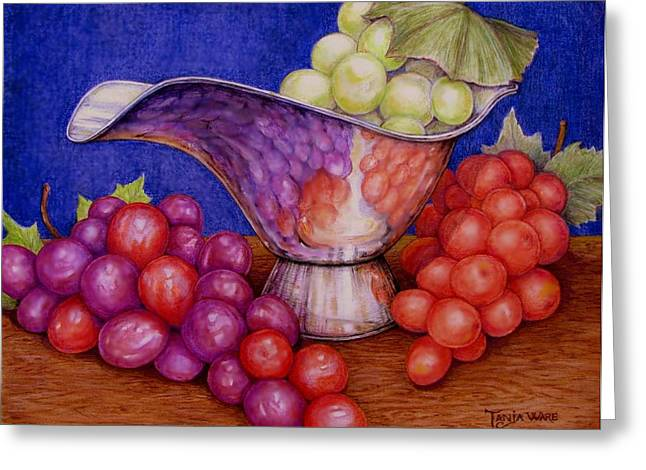 Realistic Pastels Greeting Cards - Grapes on Silver Greeting Card by Tanja Ware