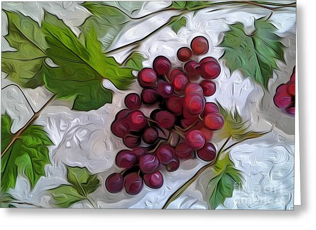 Greece Vineyards Greeting Cards - Grapes on Stucco Greeting Card by CR Leyland