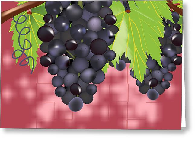 Purple Grapes Mixed Media Greeting Cards - Grapes on vine Greeting Card by Hope Linton