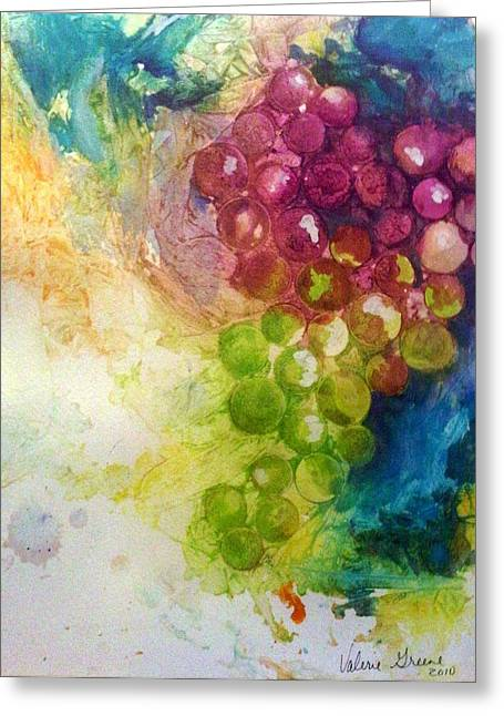 Bunch Of Grapes Paintings Greeting Cards - Grapes Greeting Card by Valerie Greene