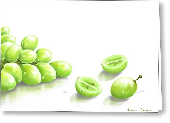 Green Fruit Greeting Cards - Grapes Greeting Card by Veronica Minozzi