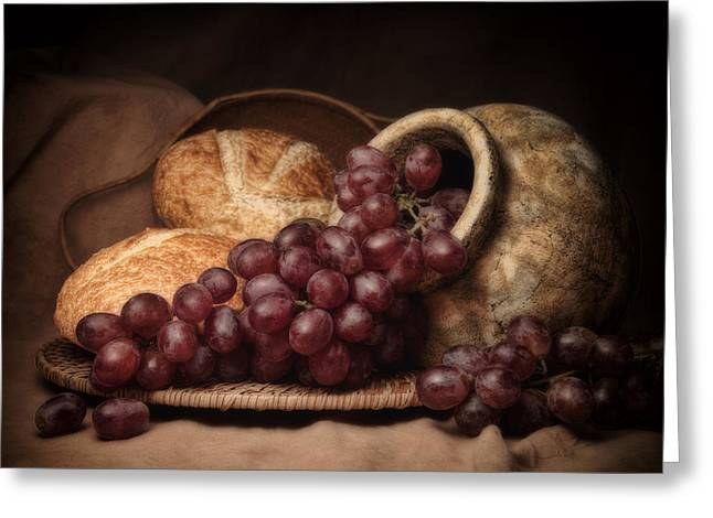 Jugs Greeting Cards - Grapes With Bread Still Life Greeting Card by Tom Mc Nemar