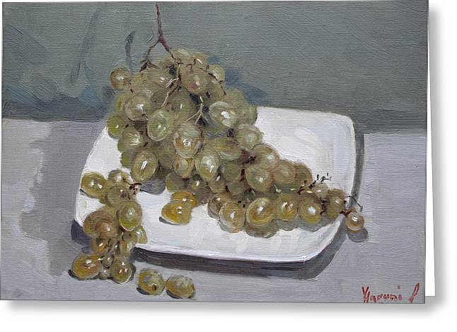Green Grapes Greeting Cards - Grapes Greeting Card by Ylli Haruni
