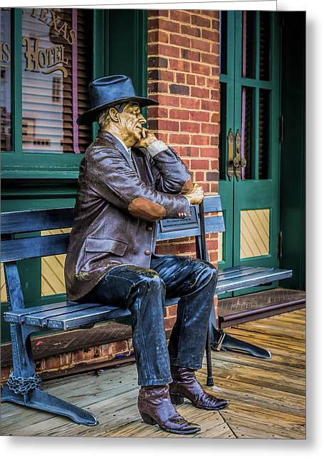 Wooden Sculpture Greeting Cards - Grapevine Cowboy Greeting Card by Robert Bellomy