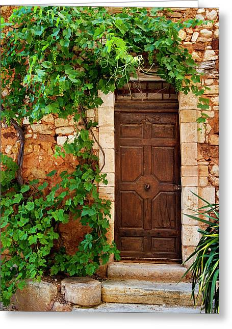 Grapevine Surrounding Front Door Greeting Card by Brian Jannsen