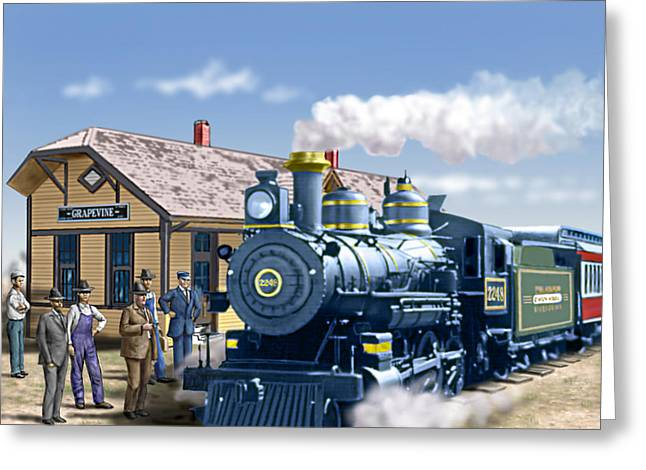 Grapevines Digital Art Greeting Cards - Old Grapevine Train Station Texas - Vintage - Old Greeting Card by Walt Curlee