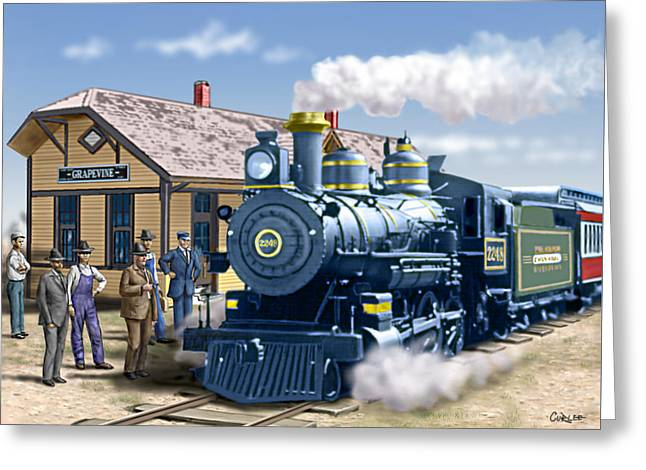 Old Grapevine Train Station Texas - Vintage - Old Greeting Card by Walt Curlee