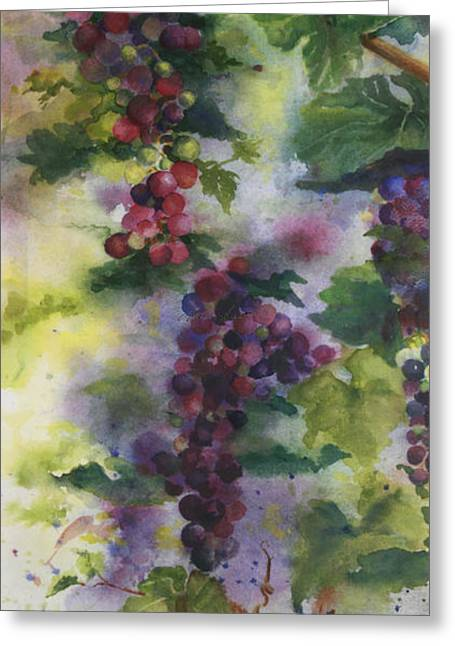 Cabernet Greeting Cards - Baby Cabernet I  Triptych  Greeting Card by Maria Hunt