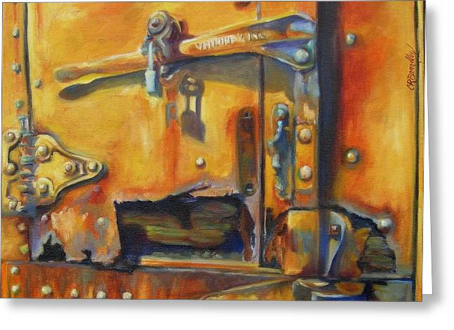 Rusted Cars Paintings Greeting Cards - Grapevine Vintage Train Greeting Card by Chris Brandley