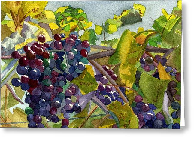 Purple Grapes Greeting Cards - Grapevines Greeting Card by Lynne Reichhart