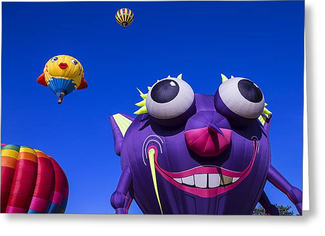 Ballooning Greeting Cards - Graphic Hot Air Balloons Greeting Card by Garry Gay
