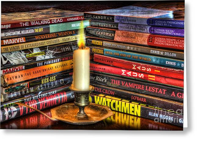 Watchman Greeting Cards - Graphic Novels by Candlelight  Greeting Card by Lee Dos Santos
