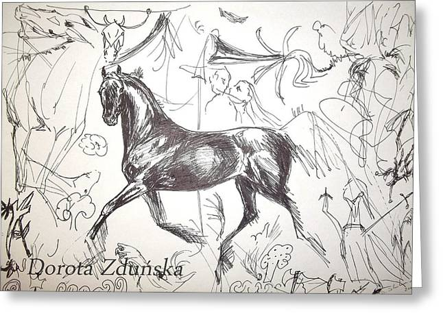 Horse Images Drawings Greeting Cards - Graphic thoughts- black arabian horse  Greeting Card by Dorota Zdunska