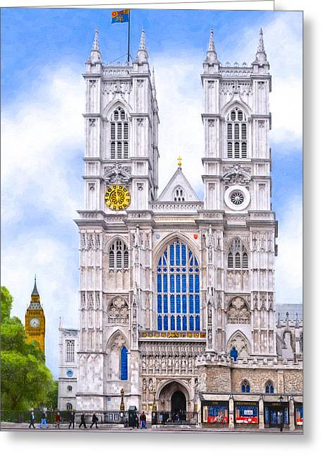 British Royalty Greeting Cards - Graphic Westminster Abbey Greeting Card by Mark Tisdale