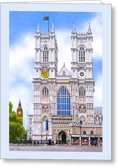 British Royalty Greeting Cards - Graphic Westminster Abbey Greeting Card by Mark E Tisdale