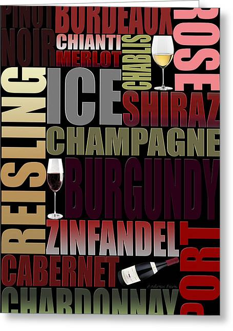 Zinfandel Greeting Cards - Graphic Wine 2 Greeting Card by Andrew Fare