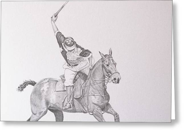 Graphite Drawing - Shooting for the Polo Goal Greeting Card by Roena King