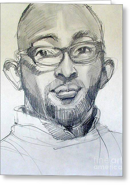 African American Men Drawings Greeting Cards - Graphite Portrait Sketch of a young man with glasses Greeting Card by Greta Corens