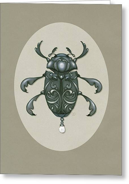 Graphite Digital Greeting Cards - Graphite Scroll Beetle Greeting Card by Catherine Noel