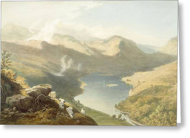Printed Greeting Cards - Grasmere From Langdale Fell, From The Greeting Card by James Baker Pyne
