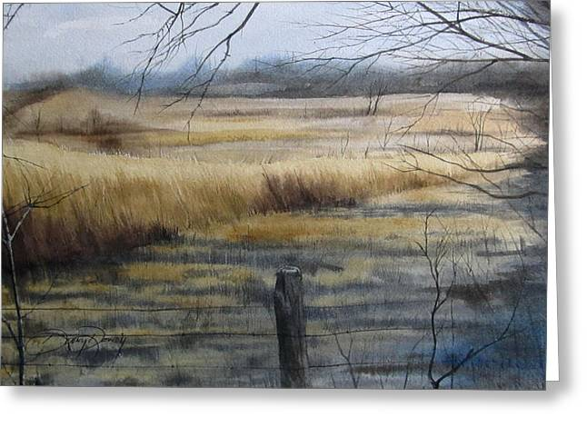 Old Fence Posts Paintings Greeting Cards - Grass Fields of Millville Greeting Card by Denny Dowdy