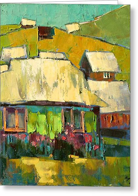 Shed Paintings Greeting Cards - Grass in the yard Greeting Card by Anastasija Kraineva