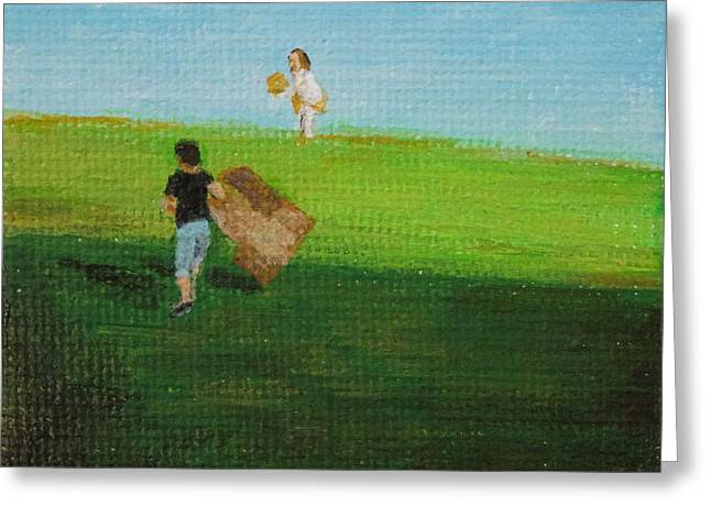 Grass Sledding  Greeting Card by Amber Woodrum