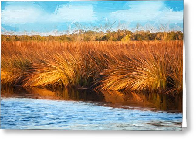 Florida Swamp Reflection Greeting Cards - Grasses at Sunset Painted  Greeting Card by Rich Franco