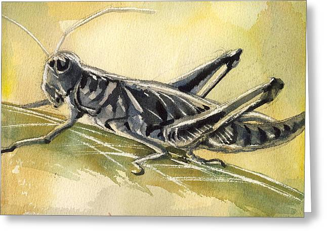 Grasshopper Paintings Greeting Cards - Grasshopper Greeting Card by Alfred Ng