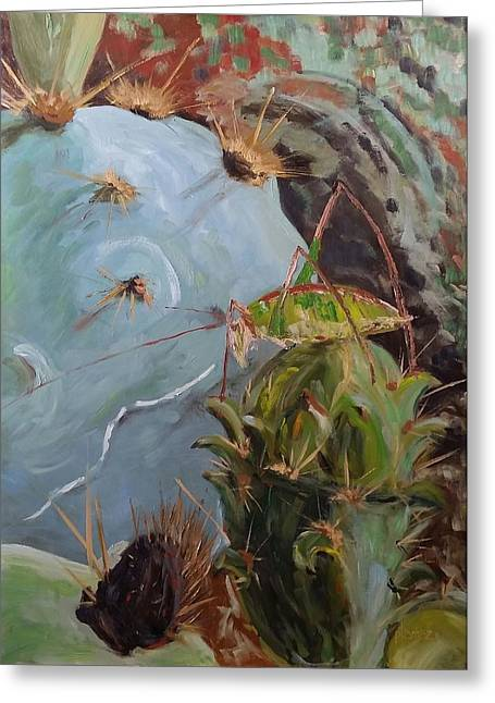 Grasshopper Paintings Greeting Cards - Grasshopper in a Sticky Situation Greeting Card by Pauly Tamez