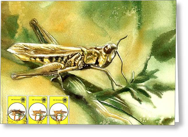 Grasshopper Paintings Greeting Cards - Grasshopper Painting With Stamps Greeting Card by Alfred Ng