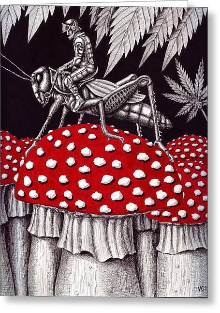 Psychology Drawings Greeting Cards - Grasshopper Rider Greeting Card by Vitaliy Gonikman