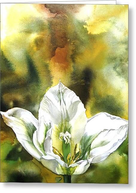 Alfred Ng Watercolor Greeting Cards - Grasshopper Tulip Greeting Card by Alfred Ng