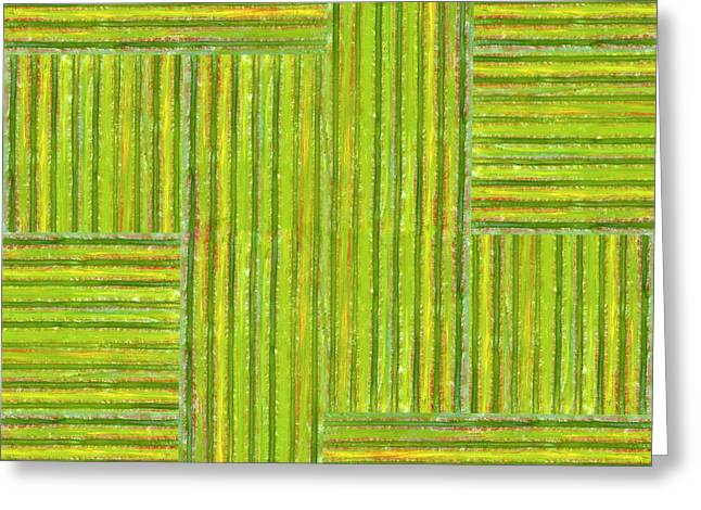 Grassy Green Stripes Greeting Card by Michelle Calkins