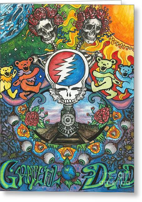 Posters Greeting Cards - Grateful Dead Fantasy Greeting Card by Amanda Paul