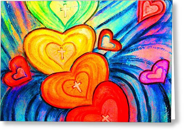 Forgiveness Greeting Cards - Grateful Hearts Greeting Card by Hazel Holland