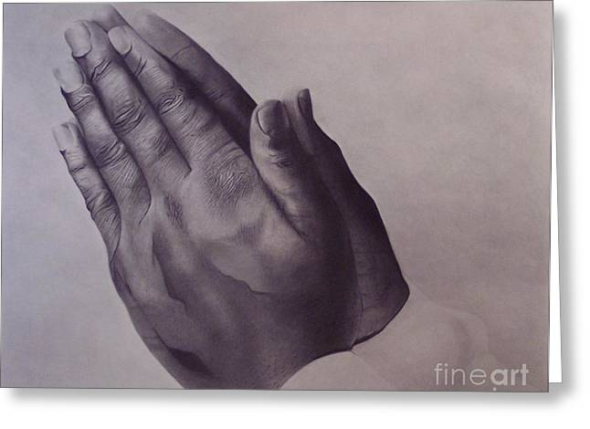 Praying Hands Greeting Cards - Grateful One Greeting Card by Wil Golden