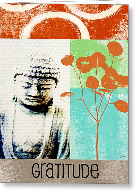 Leafs Greeting Cards - Gratitude Card- Zen Buddha Greeting Card by Linda Woods