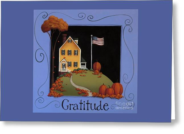 American Primitive Art Greeting Cards - Gratitude Greeting Card by Catherine Holman