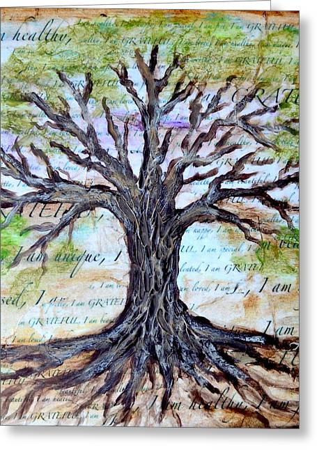 Law Of Attraction Greeting Cards - Gratitude Tree Greeting Card by Agata Lindquist