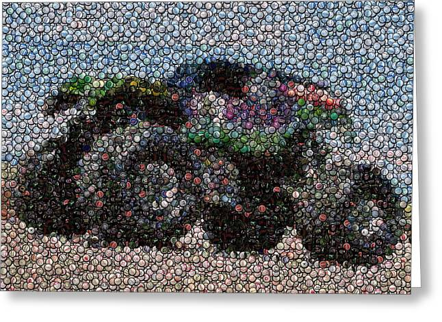 Rally Mixed Media Greeting Cards - Grave Digger Bottle Cap Mosaic Greeting Card by Paul Van Scott