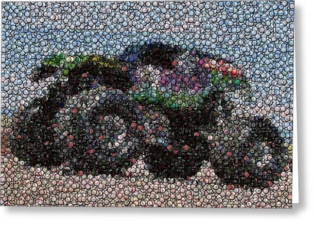 Grave Digger Bottle Cap Mosaic Greeting Card by Paul Van Scott