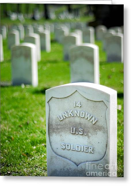 Headstones Greeting Cards - Grave of an Unknown Soldier Greeting Card by Amy Cicconi