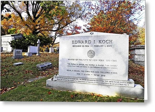 Headstones Greeting Cards - Grave of NYC Mayor Ed Koch Greeting Card by Sarah Loft