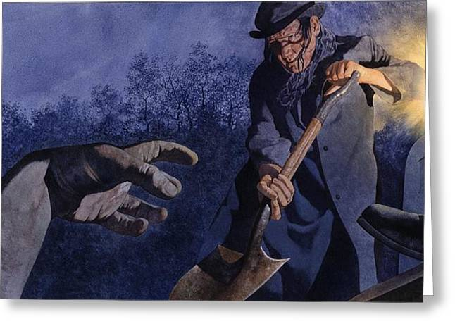 Spooky Grave Greeting Cards - Grave Robber Greeting Card by Matthew Frey