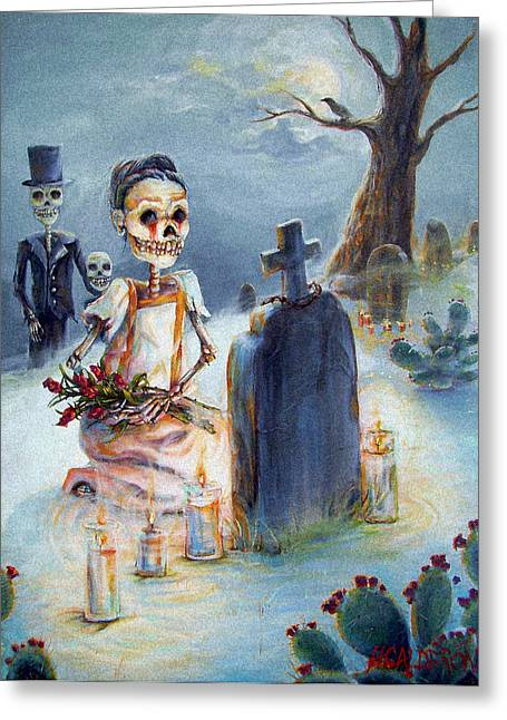 Muertos Greeting Cards - Grave Sight Greeting Card by Heather Calderon