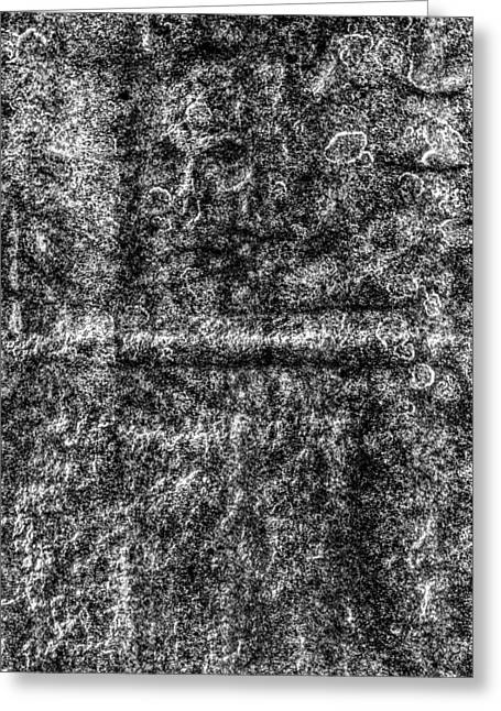 Grave Stone Skull Greeting Card by David Pyatt