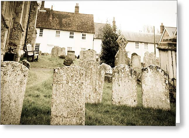 Clare Greeting Cards - Grave yard Greeting Card by Tom Gowanlock