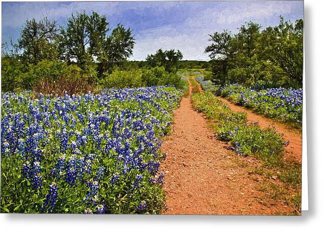 Country Dirt Roads Greeting Cards - Gravel Road Among the Bluebonnets Greeting Card by David and Carol Kelly